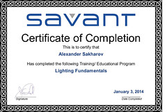 Alexander Sakharov - Lighting Fundamentals - Completion Certificate