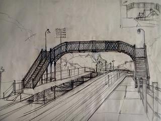 Dibujo del puente de Arrol Bros. aun existente en la estación Coghlan. circa 1993.