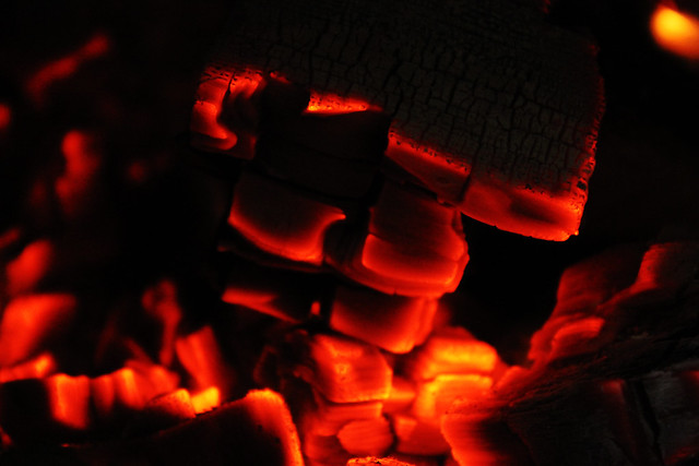 Glowing charcoal in a stove