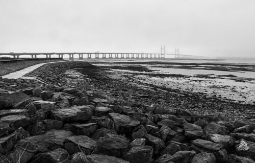 blackwhite bnw blackandwhite bridge riversevern places photographers outdoors lovebw landscape lines monochrome mist rocks paths urban travel transport adventure architecture england walesuk tides mudflats bloodyseafog