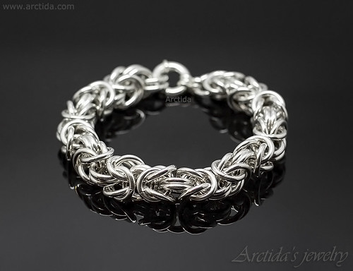 Heavy sterling silver mens bracelet massive Byzantine chainmaille bracelet for men. Mens collection by Arctida | by Arctida