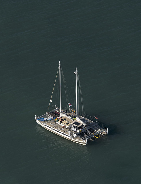 The Hecate - moored off Cromer in Oct, was escorting Ross Edgley as he swam the entire GB coast