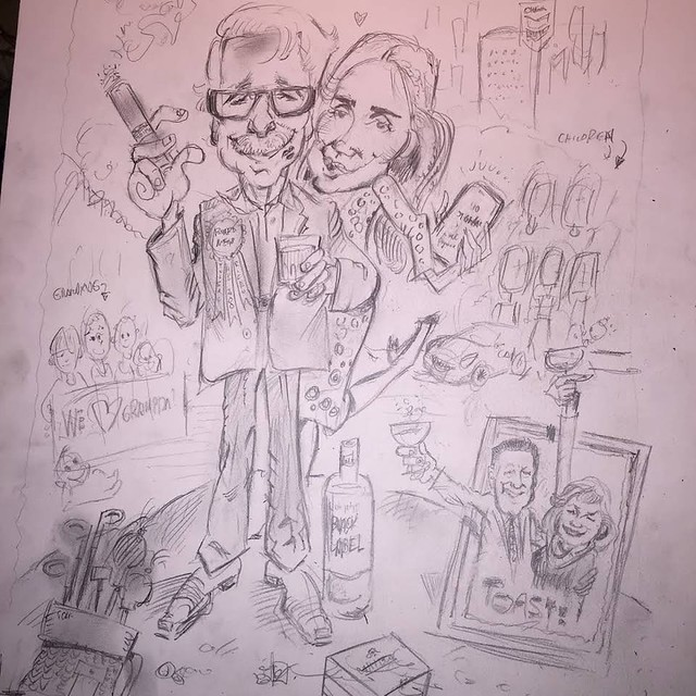 Houston Caricature Artists Draft of FULL COLOR Private Party Caricature presentation