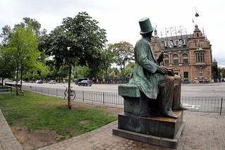 H.C Andersen statue and Tivoli in Copenhagen, Denmark