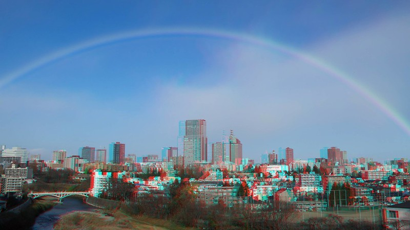 A rainbow over central of Sendai, anaglyph