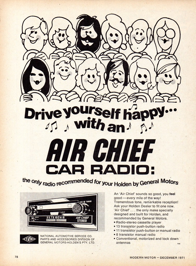 1972 NASCO Car Accessories Air Chief Radio Holden GM GMH G