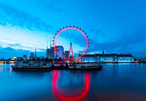 london londoner eye red blue hour sunrise landscape cityscape city urban uk united kingdom england