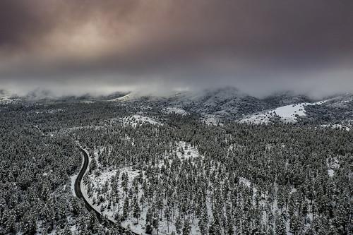 arizona clouds lynxlake mountains prescott snow water winte aerail drone pinetrees reflection