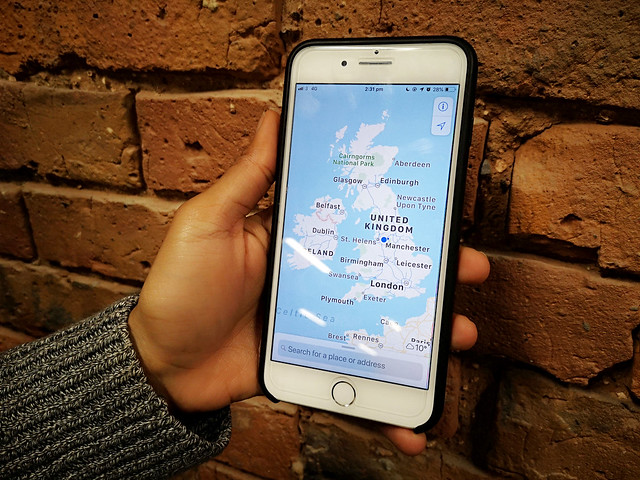 Map of the United Kingdom on Apple maps, pictured on an iPhone 8 plus