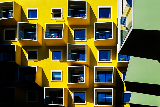 Yellow and green balconies