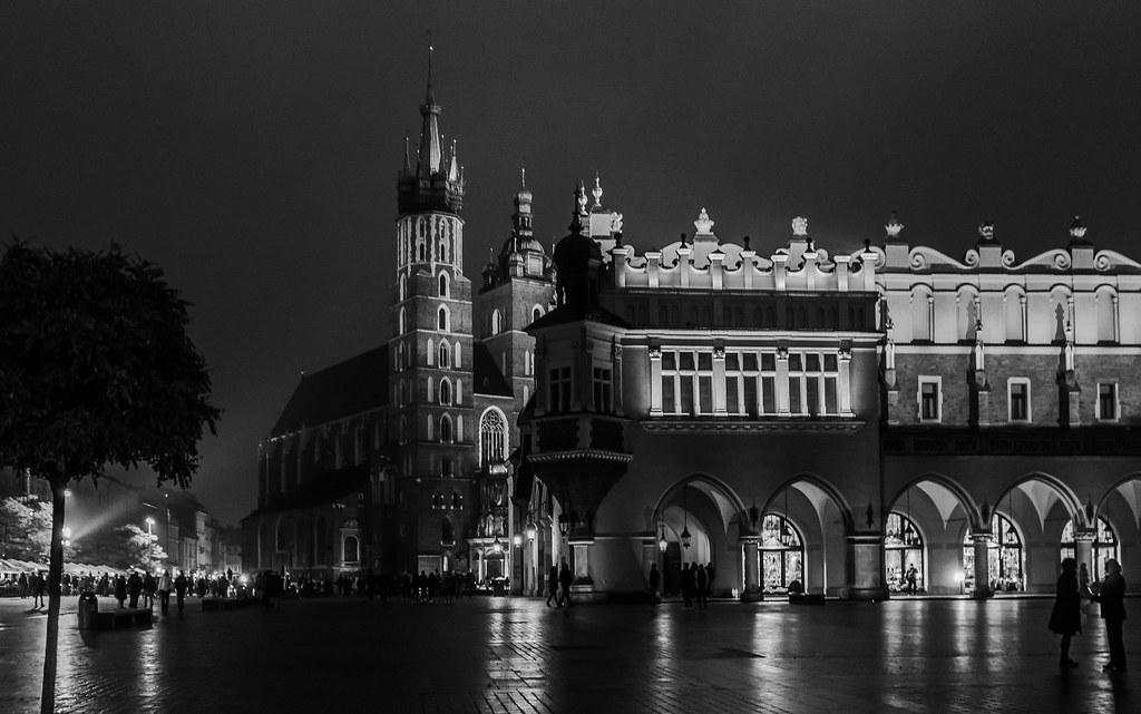 Krakow Nightscape - Market Square ( Rynek Glowny) (Krakow Old Town - Stare Miasto) (Monochrome) (Panasonic Lumix LX100-II) (1 of 1)