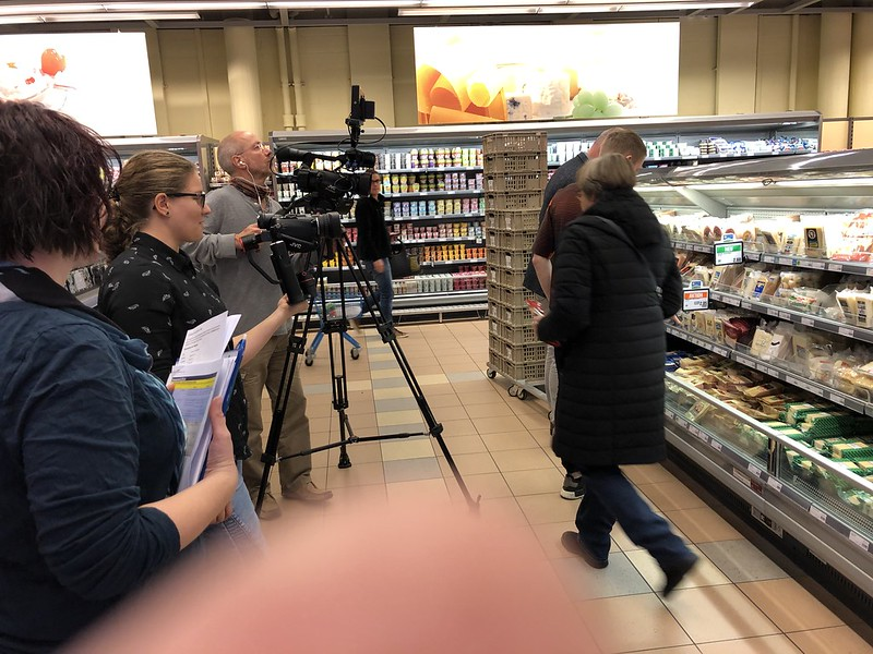 Filming in the supermarket