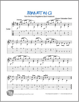 Minuet in G by Bach | Free Easy Guitar Solo - TAB (PDF) | Flickr