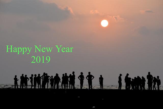 Welcoming the New Year 2019 morning !  Chennai , India
