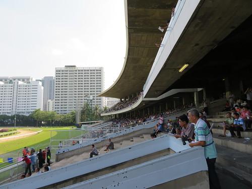 ロイヤルバンコクスポーツクラブ競馬場のスタンドを見上げる