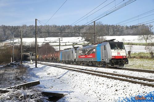 186 493+186 499 . DB Cargo . E 47061 . Hombourg . 18.01.19.