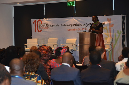 Nov/2018 - Wanjiru Kamau-Rutenberg, the African Women in Agricultural Research and Development (AWARD) Director addresses participants of the AWARD@10 event (photo credit: ILRI/ Judy Kimani).