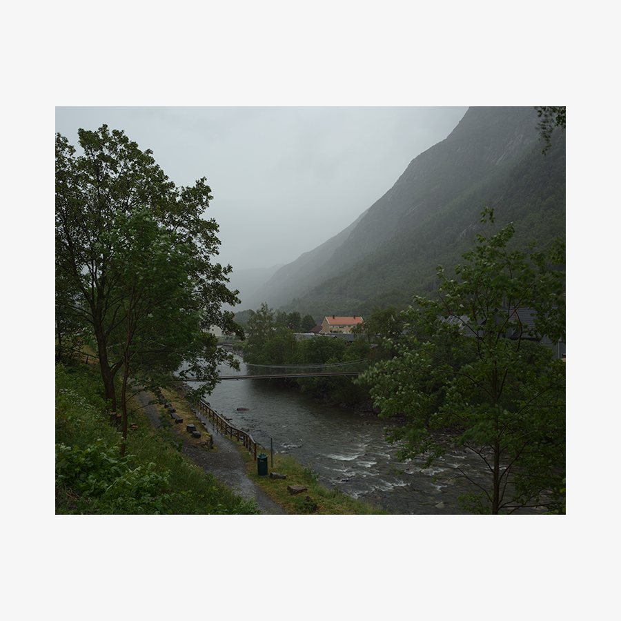 Foggy landscape photograph showing trees, river, houses and mountain.