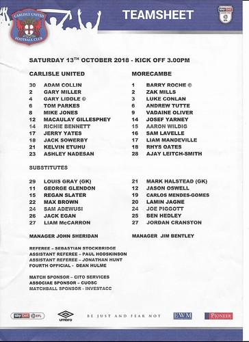 Carlisle United V Morecambe 13-10-18 | by cumbriangroundhopper