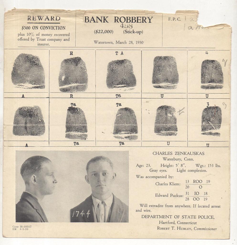Watertown, CT  Bank Robbery 1930 | MEET CHARLES ZENKAUSKAS