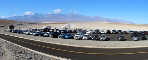 0139 Panorama shot looking out over the Badwater parking lot, with Telescope Peak in the distance   by _JFR_