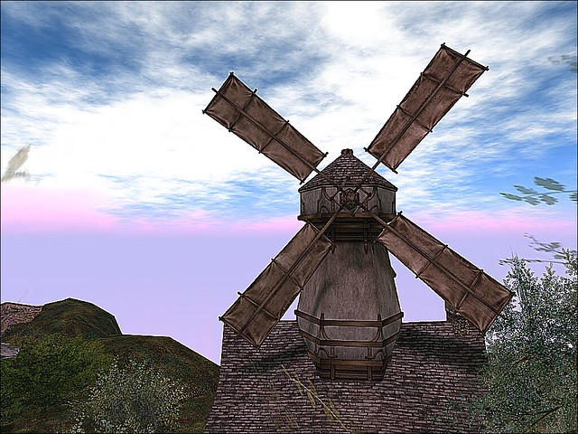 Storybrooke Gardens - The Windmill Crosses A  Cloudy Sky.