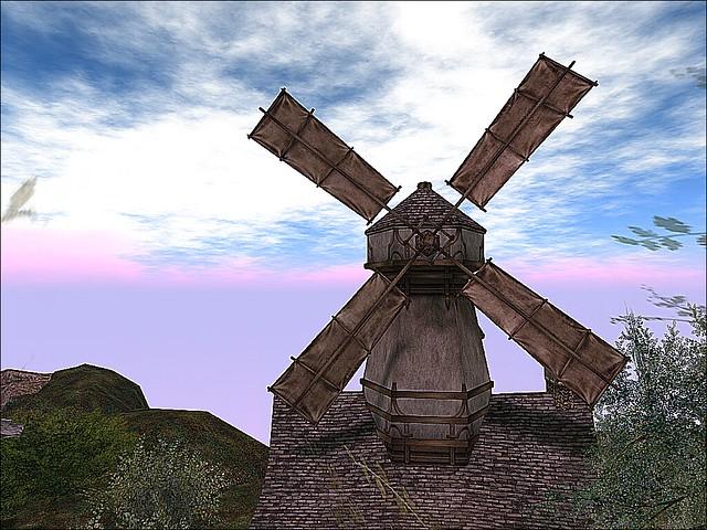 Storybrooke Gardens - The Windmill Crosses A  Cloudy Sky.