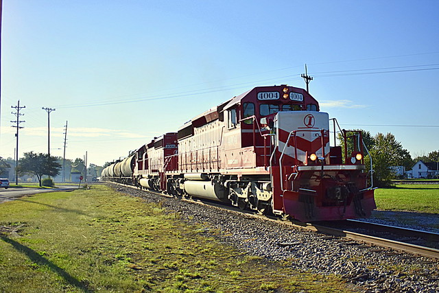 Indiana Railroad with a string of tankers at Linton Indiana