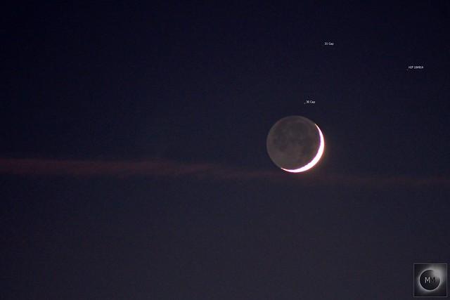 6% Waxing Crescent Moon with Earthshine 08/01/19
