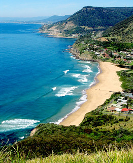 18 September 2004 - View south-west from Stanwell Tops across the beach at Stanwell Park, NSW, Australia