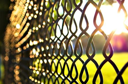 fence sunset repetition bokeh pentaxart cc0 darktable