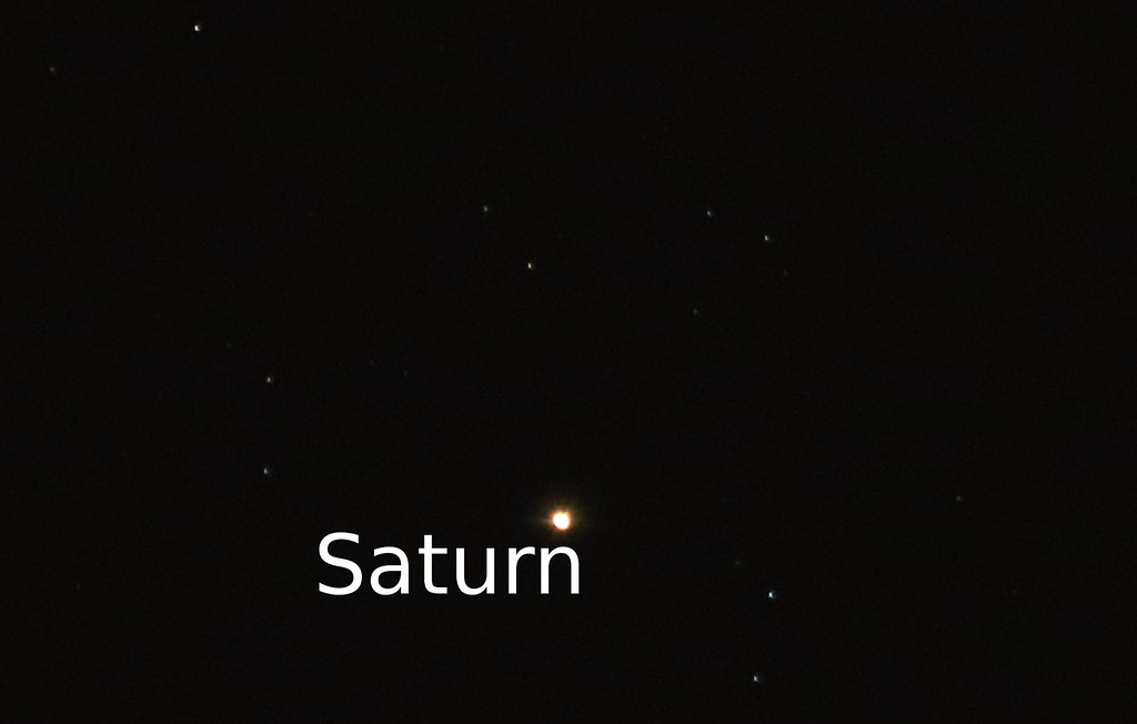 Saturn adjacent to the constellation Libra tonight, just off the zenith.