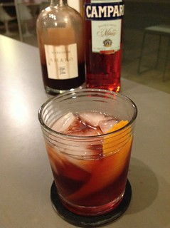 Negroni with 2 oz pineapple-infused Beefeater gin, 1.5 oz Margerum amaro, 1 oz Campari | by *FrogPrincesse*