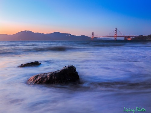 sanfrancisco longexposure sunset pacificocean goldengatebridge chinabeach