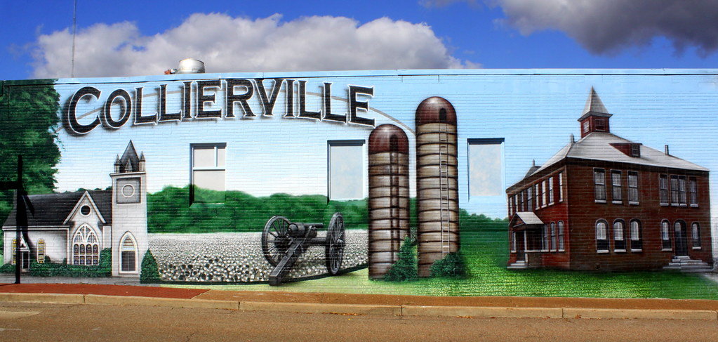 collierville tn town square mural left half unveiled