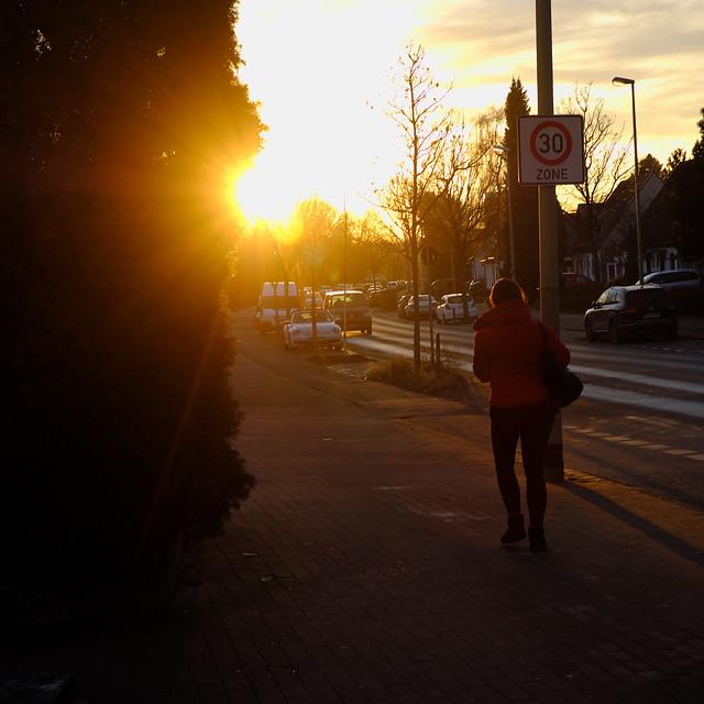 facing setting sun