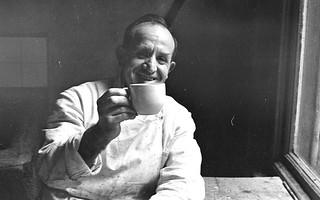 Billy Knowels at tea in bacof shop 1970 cir.