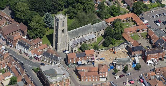 St Peter & St Paul Church in Fakenham - aerial view