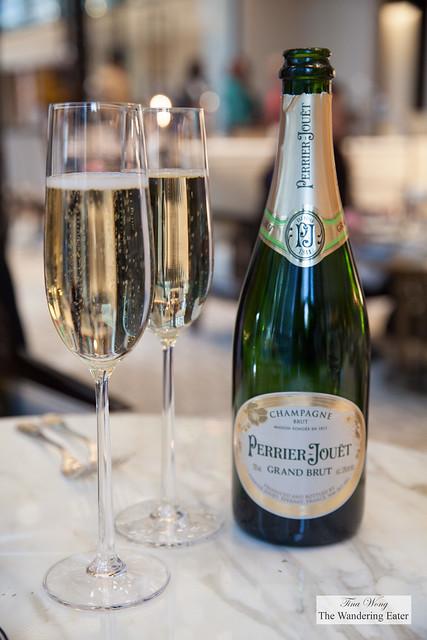 Glasses of Perrier-Jouët Grand Brut Champagne