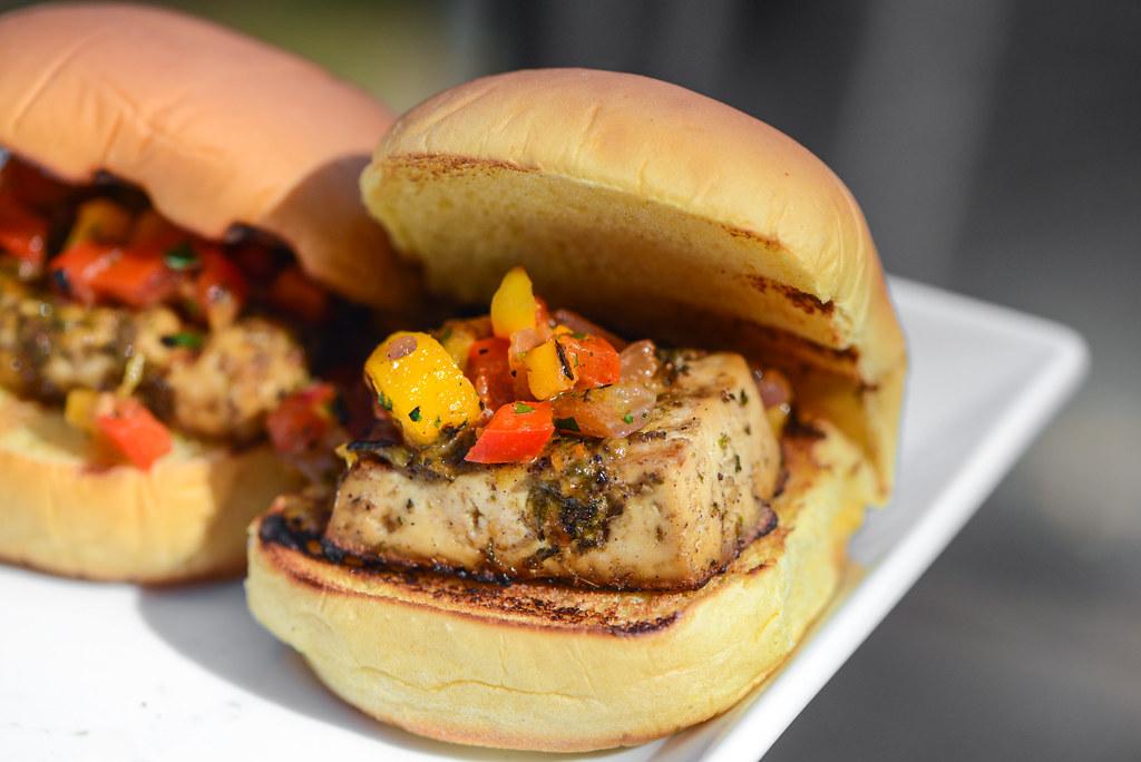 Jerk Tofu Sliders with Grilled Mango-Habanero Salsa
