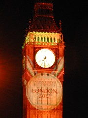 Big Ben illuminated with London 2012 Olympic bid logo