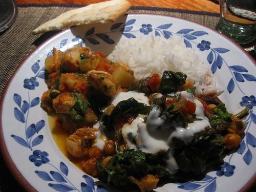 Chilli chicken curry and Tamarind chickpeas II