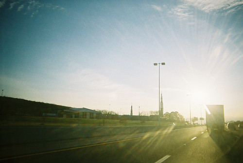 driving toward the sun, on the interstate