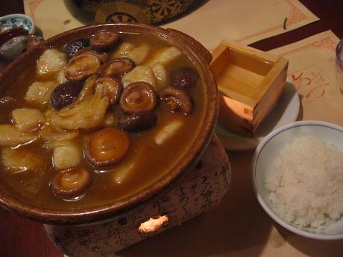 Braised scallops and mushrooms