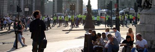 Police around Trafalgar Square