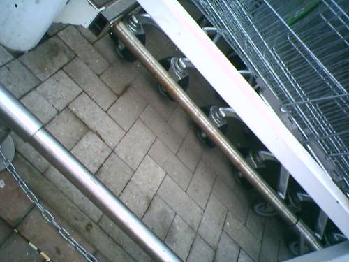 Locking trolley wheel mechanism
