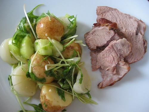 Leg of lamb with potato and rape salad