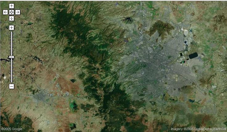 Vista Satelital de Toluca y DF