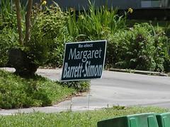 Campaign sign for Margaret Barrett-Simon