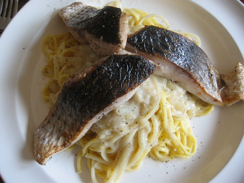 Grilled mullet with spaghetti in fish and fennel sauce